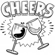 Cheers wine glass toast sketch — Stock Vector