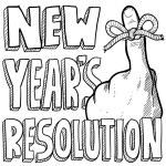 Новый год резолюции эскиз — Cтоковый вектор