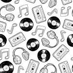 Seamless music media background — Stock Vector
