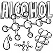 Stock Vector: Alcohol molecule sketch