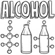 Stock Vector: Alcohol molecule sketch with bottle