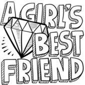 Diamonds are a girl's best friend sketch — Stock Vector