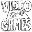 Video games sketch — Vector de stock