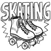 Rolki skating szkic — Wektor stockowy