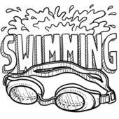 Simning sport skiss — Stockvektor