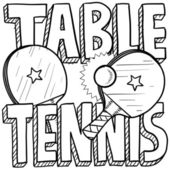 Table tennis sketch — Vettoriale Stock