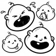 Babies emotional facial expressions sketch — Stock Vector