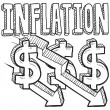 Inflation decrease sketch - Stock Vector