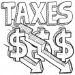 Taxes decreasing sketch — Stock Vector