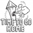 Time to go home from work sketch — Stock Vector