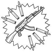 Assault rifle sketch — Stock Vector