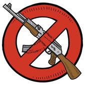 Assault weapons ban sketch — Stock Vector