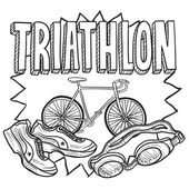 Triathlon skiss — Stockvektor