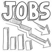 Jobs decreasing sketch — Stock Vector