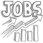 Jobs increasing sketch — Stock Vector