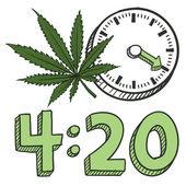 Time to smoke marijuana sketch — Stock Vector