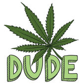Dude marijuana sketch — Vector de stock