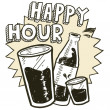 Happy hour alcohol sketch - Stock Vector