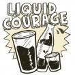 Liquid courage alcohol sketch — Stock Vector