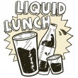 Stock Vector: Liquid lunch alcohol sketch