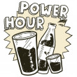 Power hour alcohol sketch — Stock Vector