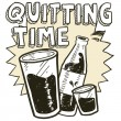 Quitting time alcohol sketch — Image vectorielle