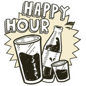 Happy hour alcohol sketch — Stock Vector