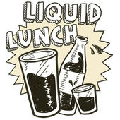 Liquid lunch alcohol sketch — Stock Vector