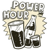 Power hour alkohol skiss — Stockvektor