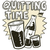 Quitting time alcohol sketch — Stock Vector