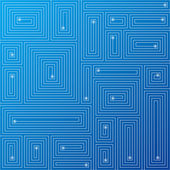 Abstract blue circuit background. Vector. — Stock vektor