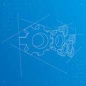 Gears'ı arka plan blueprint. vektör. — Stok Vektör