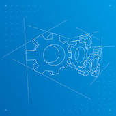 Gears blueprint background. Vector. — Vettoriale Stock