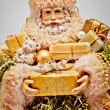 Santa Claus with gifts. Christmas background. — Stockfoto