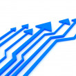Blue arrows competition concept . 3d rendered image. — Stock Photo