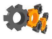 Solution, travail d'équipe, technologie... des concepts. engrenages 3d. — Photo