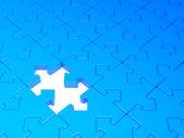 Jigsaw puzzle konzept hintergrund blau. 3d-bild. — Stockfoto