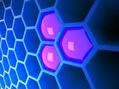 High tech 3d blue honeycomb — Stock Photo