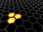 высокие технологии 3d черный / темный сота — Стоковое фото