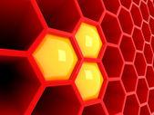 Yüksek teknoloji 3d kırmızı petek — Stok fotoğraf