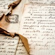 Old letter with stamp on old paper — Foto Stock