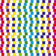 Colorful squares. Optical illusion. Vector. — Stock Vector