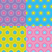 Vintage seamless floral pattern set. Vector. — Stock Vector