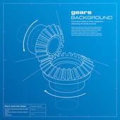 Engrenages blueprint fond. vector. — Vecteur