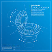 Gears blueprint background. Vector. — Vector de stock