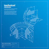 Gears blueprint background. Vector. — Stockvektor