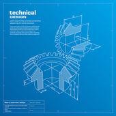 Gears blueprint background. Vector. — Stock Vector