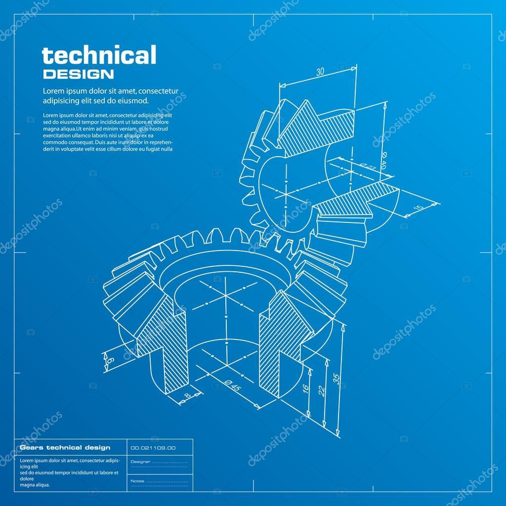 Blueprint Vector Drawings Gears Blueprint Vector