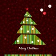 Green stripes Christmas tree background. Vector. — Stock Vector #15841215