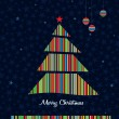 Colorful stripes Christmas tree background. Vector. — Vettoriali Stock